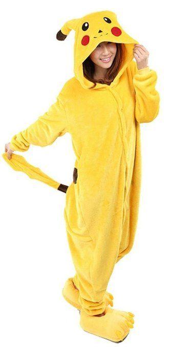 Très Chic Mailanda Unisex Erwachsene Schlafanzug Karneval Tier Cosplay Plüschtier Kapuzenkostüm(Pikachu)