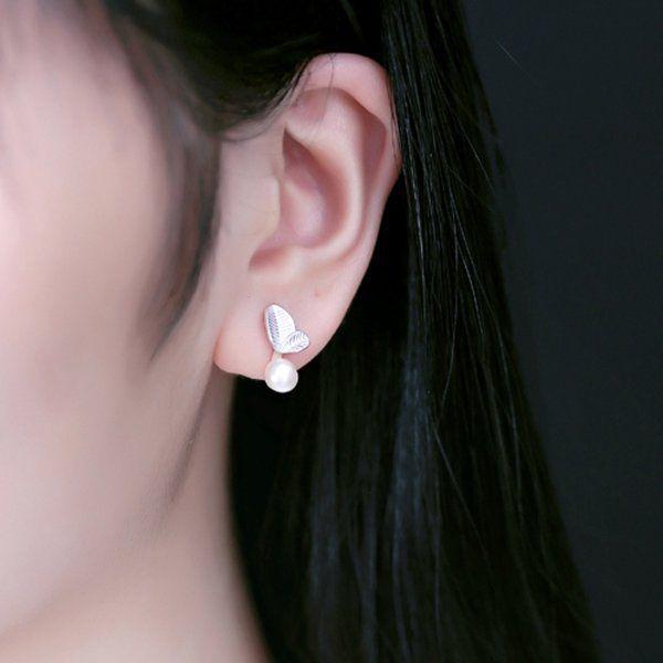 925 Sterling Silver Olive Leaves Pearl Earrings  women fashion jewelry