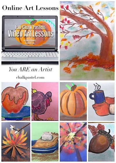 A Master Artist to teach the joy of art to all grades and ages using these fall video chalk art lessons. Online art lessons from the comfort of your home!
