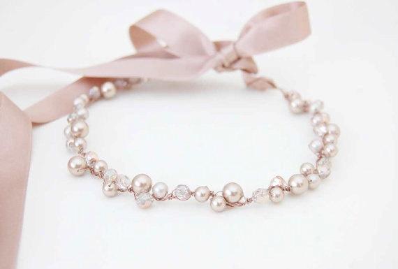 Sale Sample - Wedding head band, Bridal pearl tiara, bride headband, beaded headband, copper, swarovski pearls, VICTOIRE. €25.00, via Etsy.