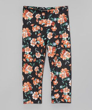 Loving this Orange Floral Leggings - Girls on #zulily! #zulilyfinds