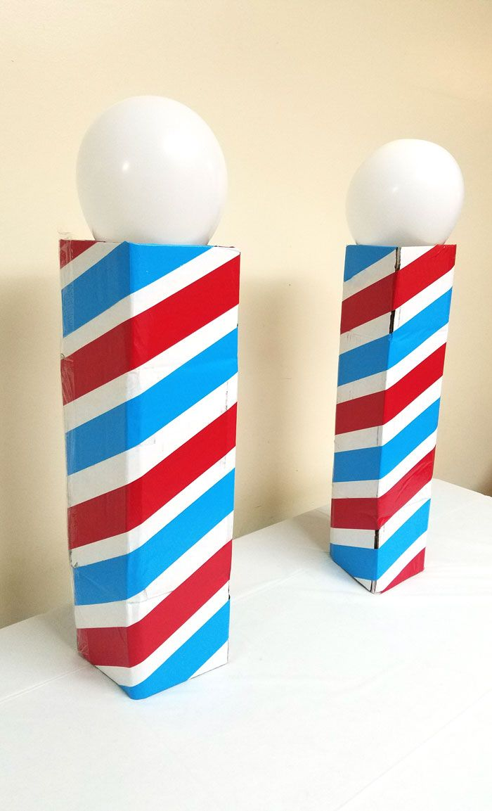 Make This Cool Barber Pole Centerpiece Cardboard Box Crafts Barber Shop Barber Shop Pole