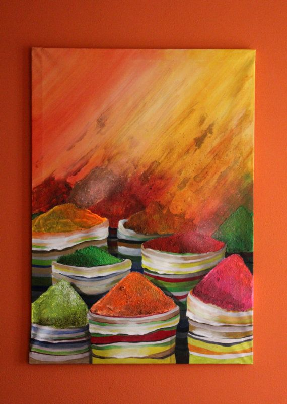 India painting/ Original painting/ Painting by PaintingsByCipeciop