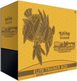 Pre-order   Item 2017      The Pokémon TCG: Sun & Moon - Guardians Rising Elite Trainer Box includes:       • 8 Pokémon TCG: Sun & Moon - Guardians Rising booster packs    • 65 card sleeves featuring Tapu Koko    • 45 Pokémon TCG Energy cards    • A player's guide to the Sun & Moon - Guardians Rising expansion    • 6 damage-counter dice    • 1 competition-legal coin-flip die    • 2 acrylic condition markers and 1 acrylic GX marker    • A collector's box to hold everything, with