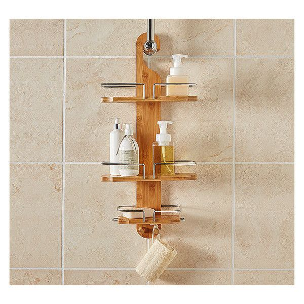 Bamboo Shower Caddy ($31) ❤ liked on Polyvore featuring home, bed & bath, bath, bath accessories, shower organizer, bamboo bathroom accessories, shower caddy, bamboo shower caddy and bamboo bath accessories