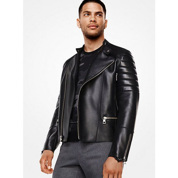 Michael Kors Mens Michael Kors Mens Leather Moto Jacket ($681) ❤ liked on Polyvore featuring men's fashion, men's clothing, men's outerwear, men's jackets, black, mens jackets, mens leather biker jacket, mens leather jackets and mens motorcycle jacket