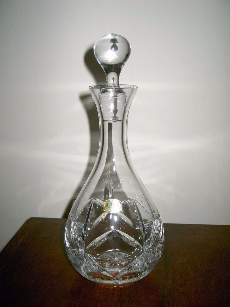 atlantis crystal wine decanter glass cut carafe with stopper new no box sticker crystal. Black Bedroom Furniture Sets. Home Design Ideas