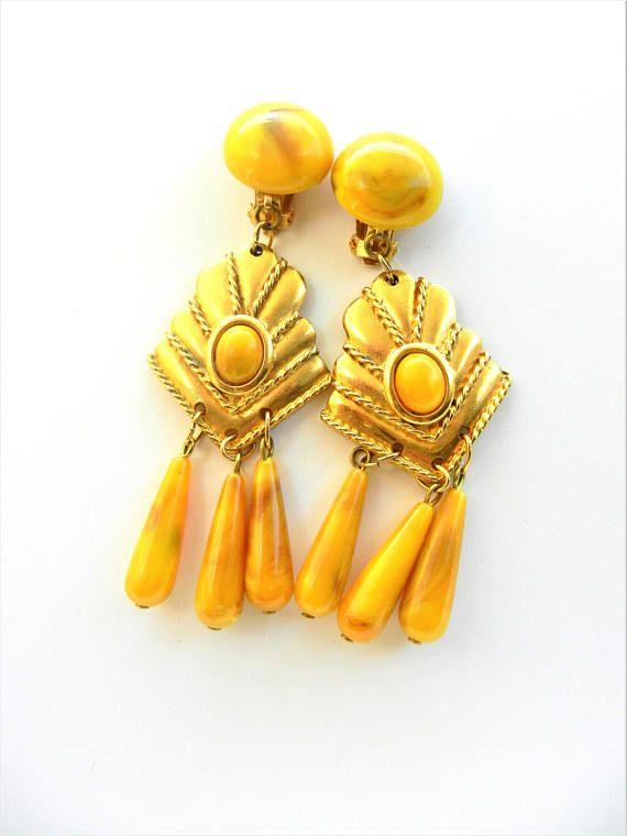 Very attractive  long dangling chandelier earrings mustard