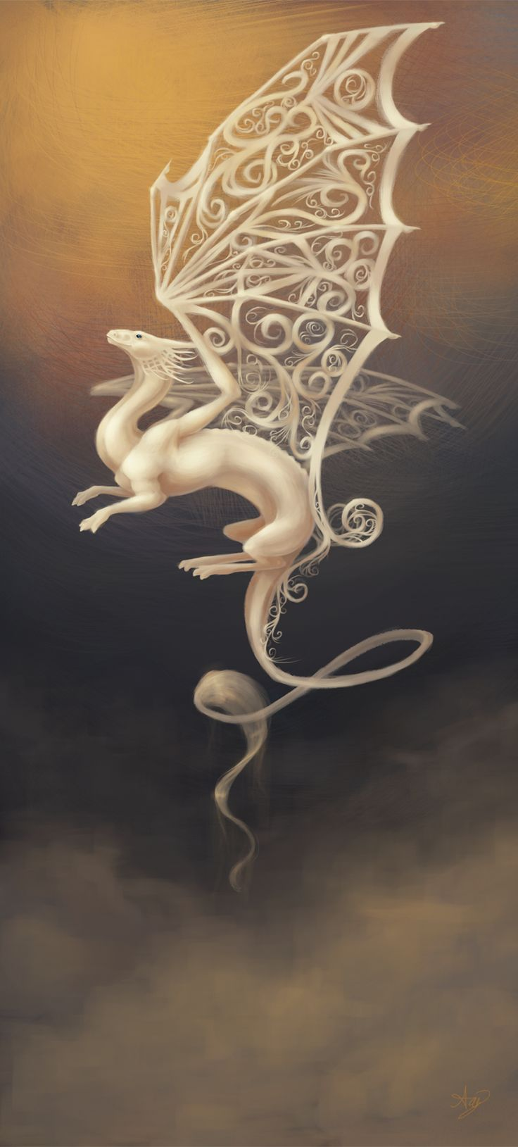 Out of the Mist by ~AngHuiQing on deviantART. I love the detail of the wings.