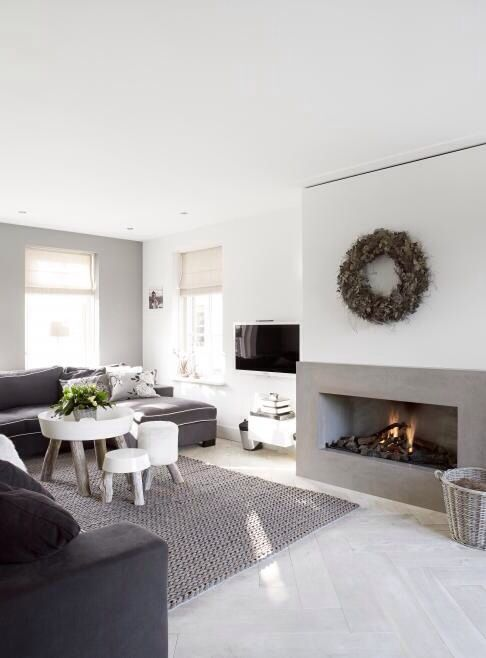 Chimney breast like this - but with stone surround to fireplace (going edge to edge of chimney breast.) TV above.