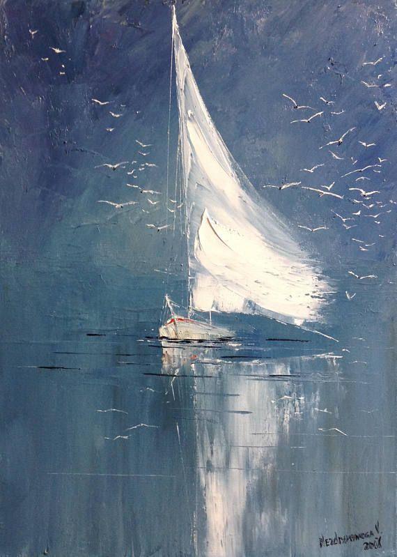Abstrakte Segelboot Malerei auf Leinwand kleine abstrakte Seascape #OilPaintingO…