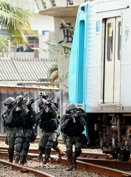 #RIO2016 Military personnels take part in an anti terror exercise at the Deodoro station ahead of the Rio de Janeiro Olympic Games on July 16 2016 in Rio de...