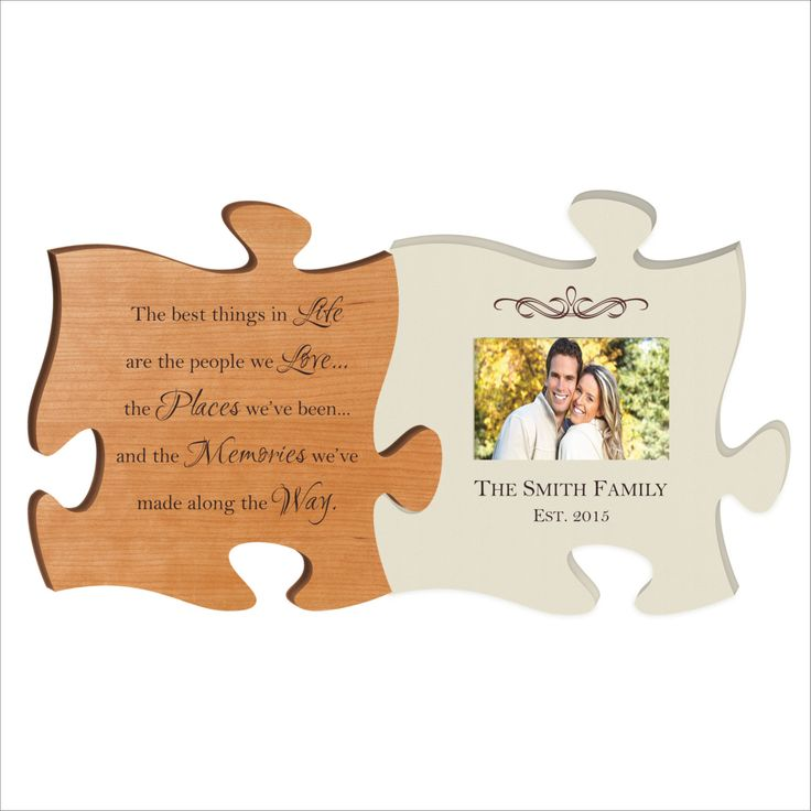 "Personalized Puzzle Piece, Photo Frame, Great Wedding Gift, Anniversary Gift, Housewarming Gift ""The best things in life..."" by BeInspiredKeepsakes on Etsy"