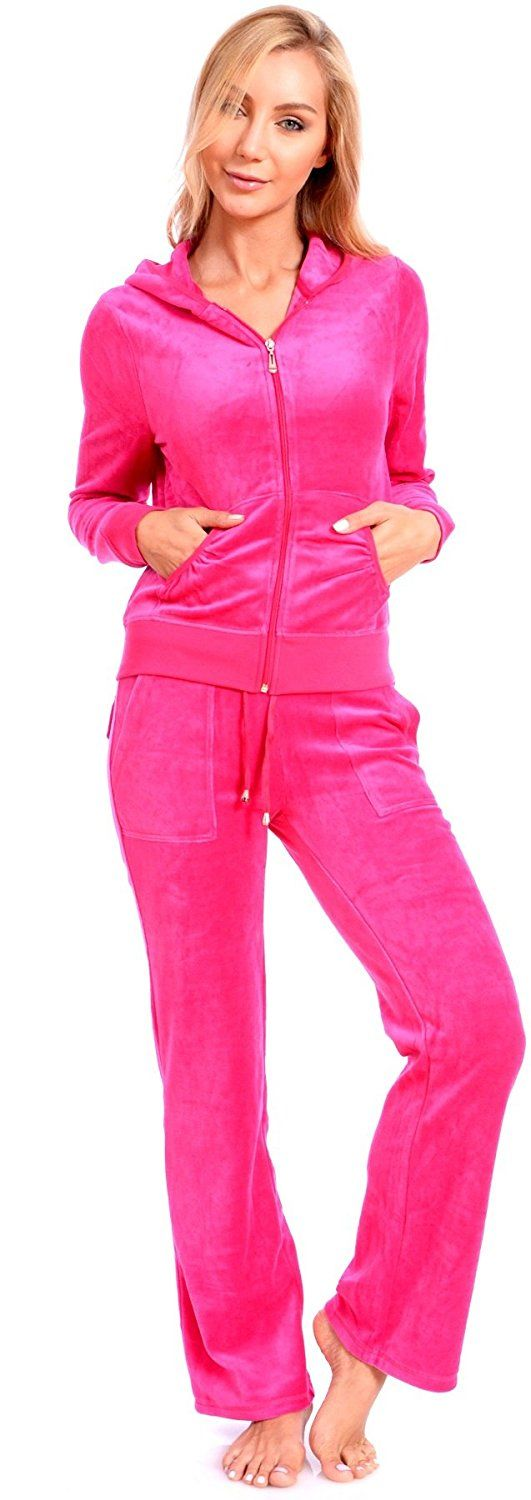 Women's Plus Size Athletic Velour Zip Up Hoodie and Sweat Pants Set Order 2 Sizes Up Pink 1X Made by #Fancy Jade Color #Hot Fuchsia. Please Order 2 Sizes Up For A Relaxed Fit. Our Sizes Run Small. Model is wearing a size Medium. Model's Height: 5'9'' Waist: 23'' Hips: 35'' and Bust: 34B/C. Hooded jacket featuring a zipper center front closure and split kangaroo pockets with long sleeves. Elastic waistband with adjustable drawstring tie; 2 side pockets and 2 back pockets with snap butto..
