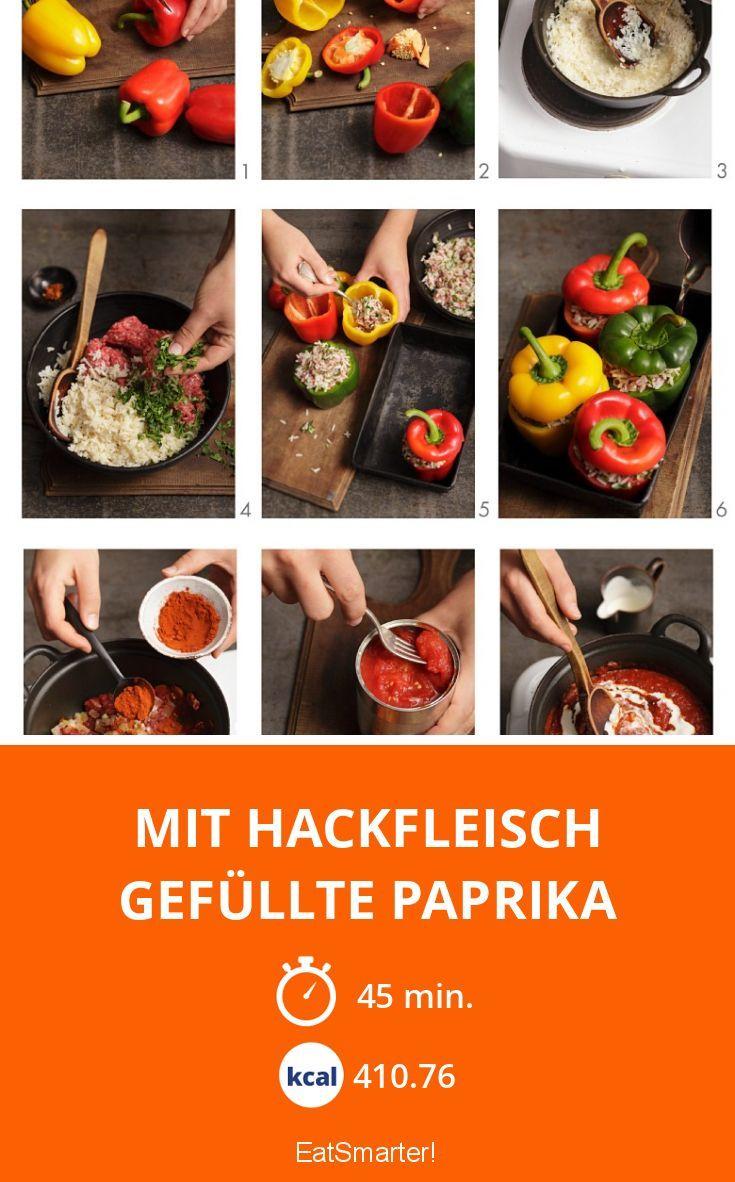 Mit Hackfleisch gefüllte Paprika - smarter - Kalorien: 410.76 kcal - Zeit: 45 Min.   eatsmarter.de