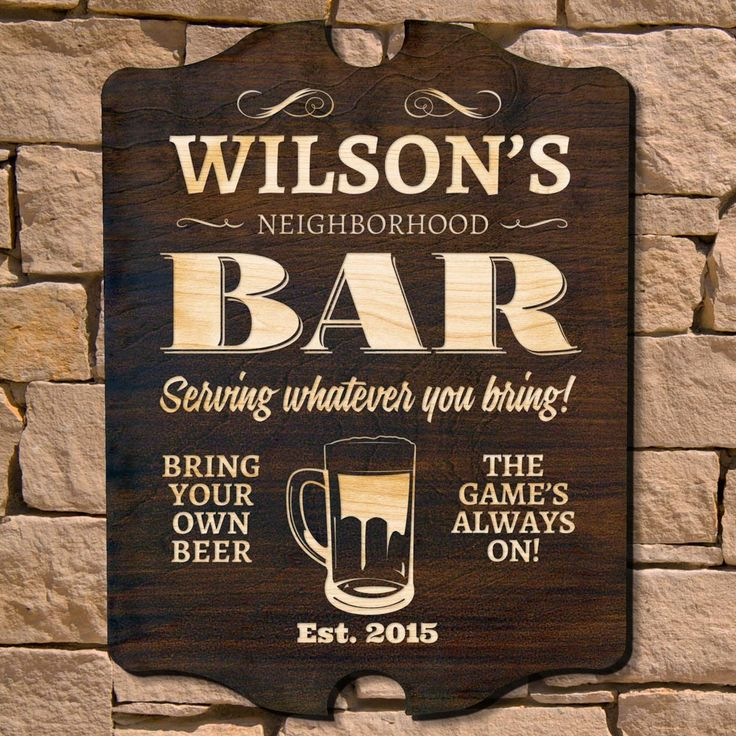 Sometimes you want to go where everybody knows your name! Personalize your home bar in style with our signature series neighborhood bar sign. Our exclusive neighborhood pub signs are handmade of beautiful...