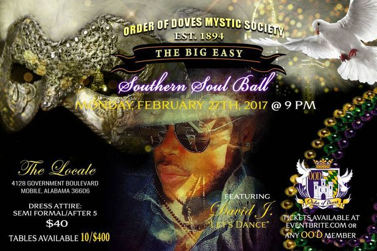 Order of Doves Mystic Society Mardi Gras Ball Tickets Are Available For Only $40; This Includes Entertainment, Food, And Drinks. Go Ahead And Grad A Table Of 10 For You And Your Friends. The dress code for this event is After 5 / Suit, Blazer, Tie and Slacks for men, After 5 / Cocktail Dress for women; this dress code will be strictly enforced, no jeans or sneakers allowed, no exceptions! Send Me A Message To Purchase Your Tickets Or Get Them On Eventbrite At…