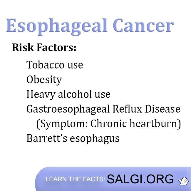 Facts that can increase the risk of esophageal cancer include: tobacco use, obesity, heavy alcohol use, Gastroesophageal Reflux Disease (GERD, Acid Reflux Disease) of which the most common symptom is chronic heartburn, and Barrett's esophagus. The Salgi Esophageal Cancer Research Foundation #AcidRefluxDiseases