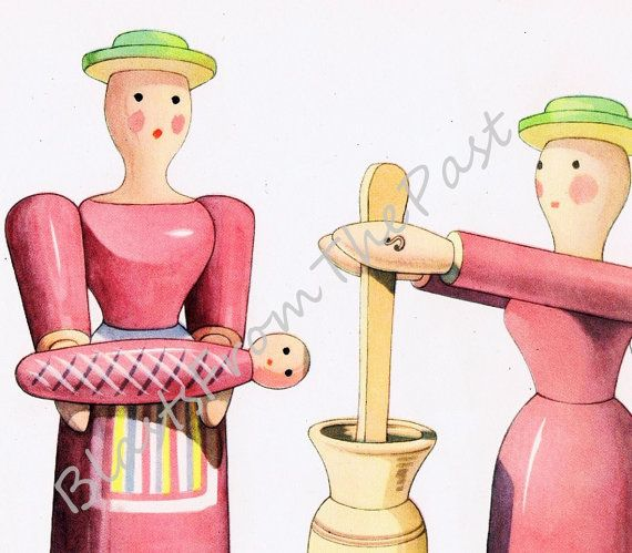 Vintage WOODEN DOLL Print Perfect for Framing Adorable