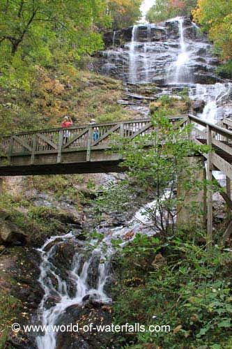 Amicalola Falls and footbridge, Chattahoochee National Forest / Dawson County, Georgia, USA