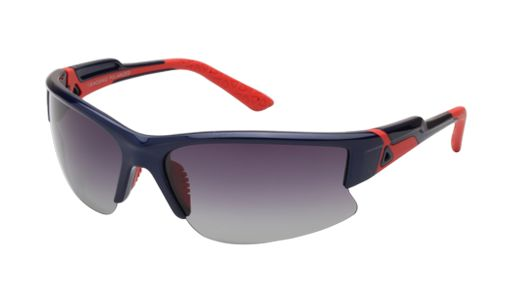 These colorful, men's wraparound sunglasses from the #Erroca Sports Collection provide maximum protection with minimum weight and no slip for the super active sportsman. Available in shiny black and orange, matte black and grey, and metallic blue and orange temples, these semi rimless frames have rubber tips and nose pads for maximum grip and polarized lenses for full protection.