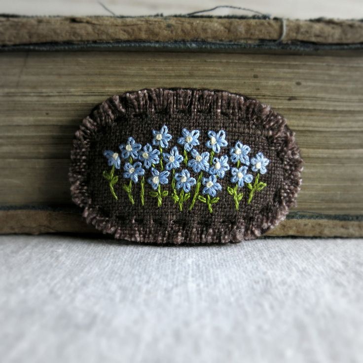 Forget Me Not Embroidered Brooch Hand Embroidered от Sidereal