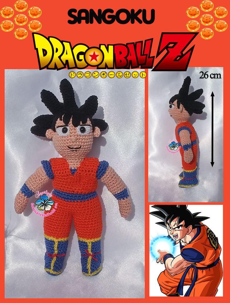 Sangoku, Dragon Ball Z, personnage de dessin animé, fait main crochet