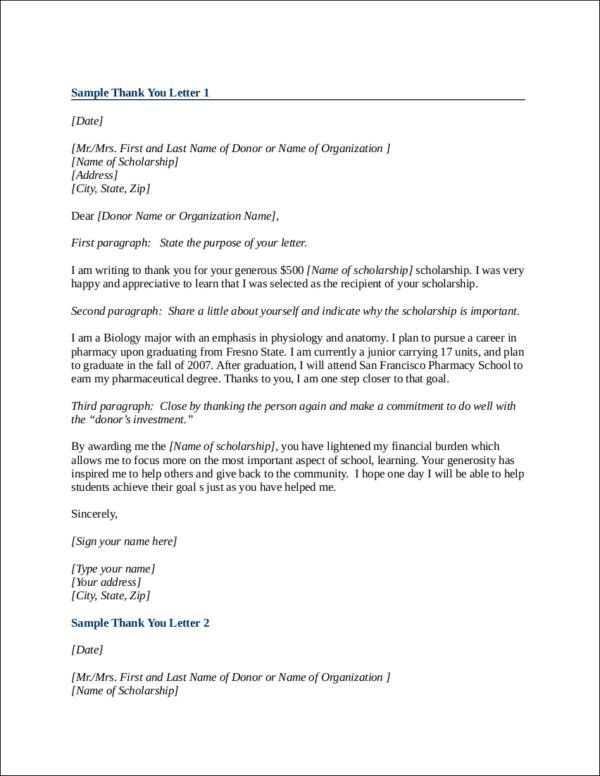 19 scholarship thank you letter template