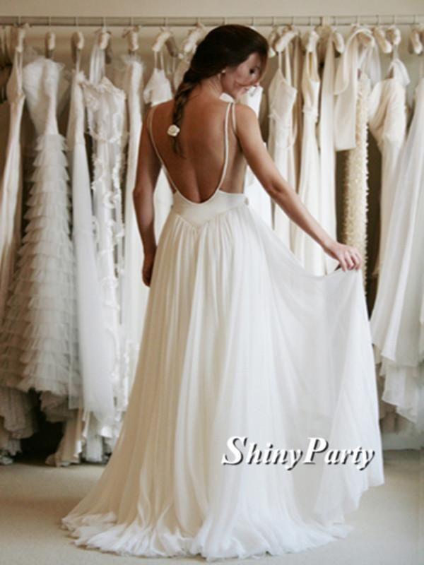 cd208b0f08 White A-line Chiffon Lace Backless Long Prom Dresses