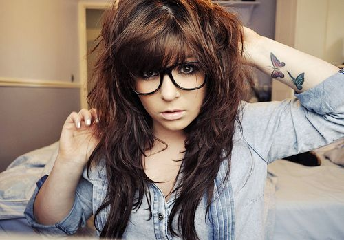 Brown Hair with bangs. I adore this choppy style :)