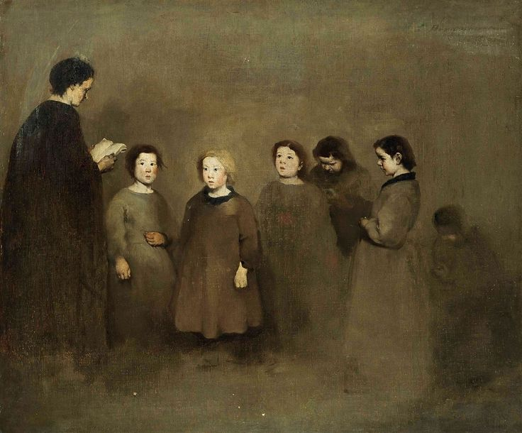 """""""A lesson at Braquemont"""".  Théodule Ribot (1823-1891), French painter."""