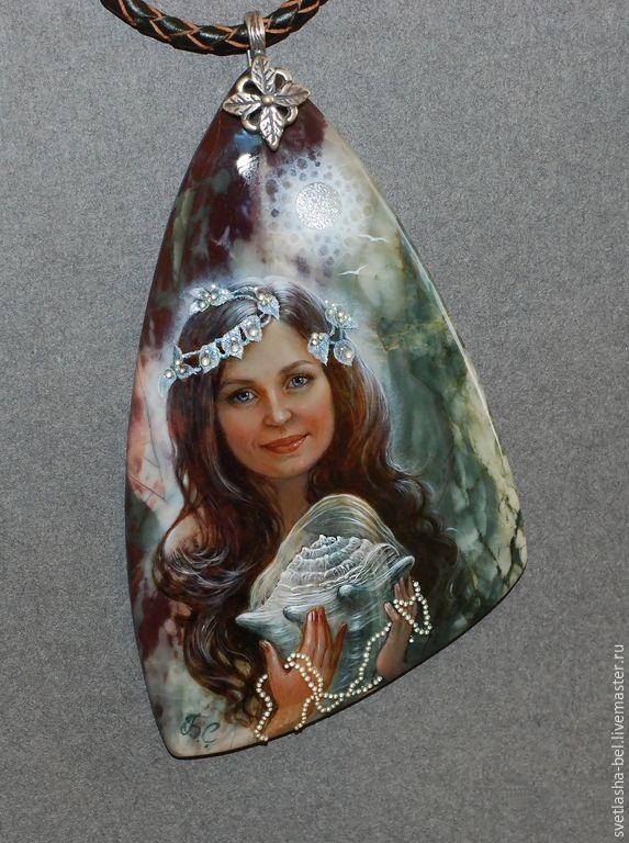 Купить Русалочка - разноцветный, лаковая миниатюра, портрет по фото, живопись маслом, живопись на камне
