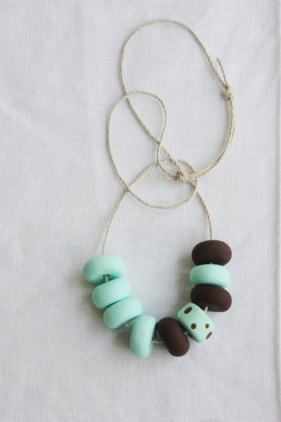 Choc Chip Peppermint Icecream -  Handmade Polymer Clay Bead Necklace by TastyCircus, $40.20 #retro #foodie #gifts