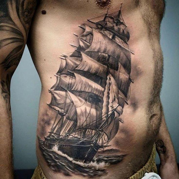 Sailing Ship Side Tattoo