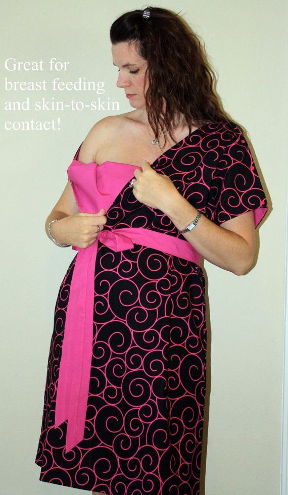Lucille Hospital Maternity Gown in Black and Hot by MommyMoxie ...
