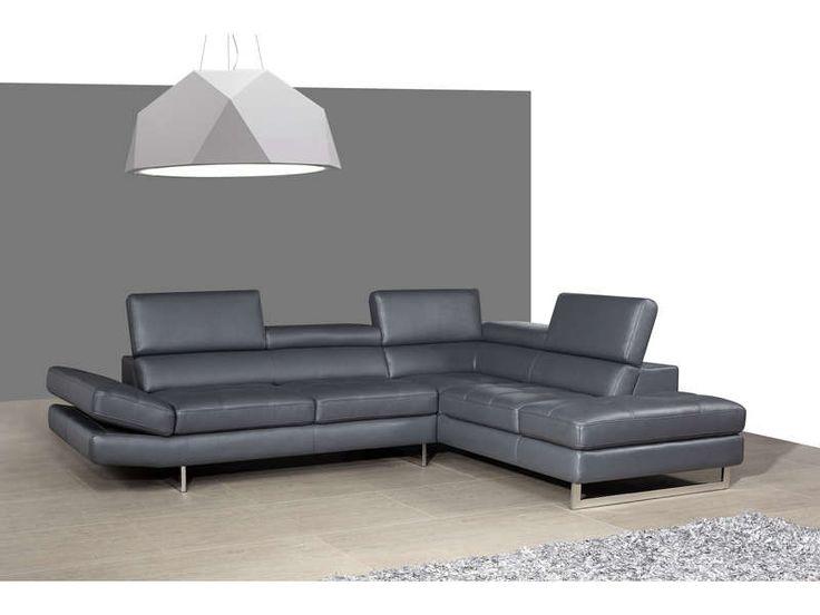 Canapé cuir angle droit LEMAN coloris gris prix promo Canapé cuir Conforama 1 699.00 € TTC au lieu de 2 122 €