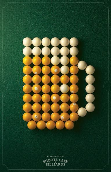 Awesome art direction and design in this print ad for Shootz Café & Billiards repinned by www.BlickeDeeler.de
