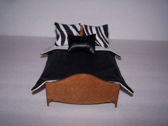 Dollhouse Miniature | Comforter Set | Zebra Pillows | Black Faux Leather | White Cotton Lining | Handmade | Bedding Set |  Shipping Included