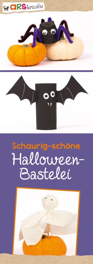 Schaurig-schöne Halloween-Bastelei: Spinne, Fledermaus und Geist #Bastelanleitung zu #Halloween auf #arskreativ