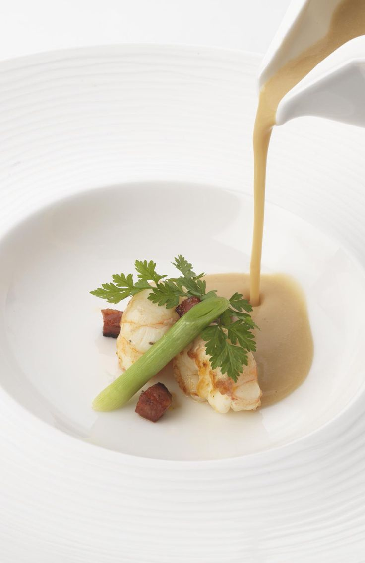 White bean velouté with chorizo and langoustine by Phil Carnegie
