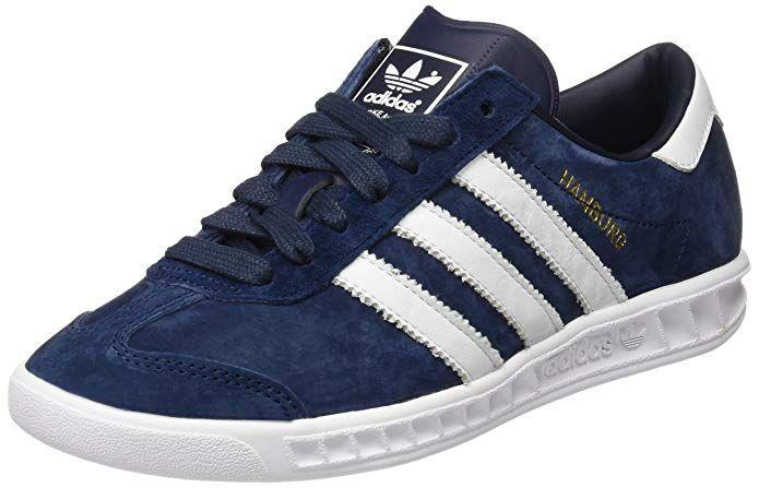 Adidas Hamburg Herren Damen Unisex Schuhe Blau Collegiate Navy Mit Weissen Streifen Sneakers Mode Blaue Schuhe Sneaker Herren