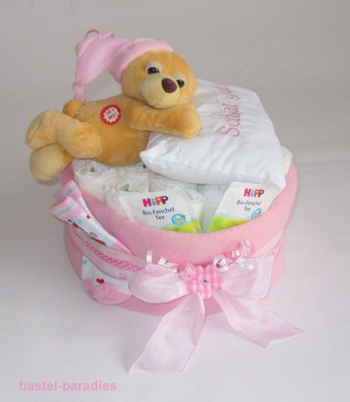 Windeltorte *Baby Mädchen rosa* Bär Windel-Geschenk Taufe Geburt Mitbringsel