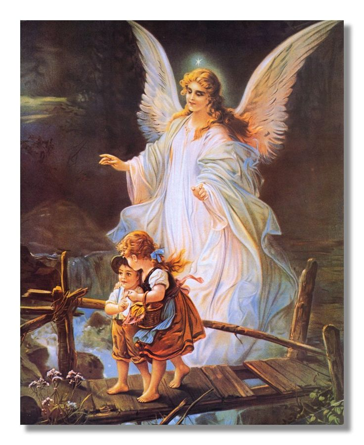 Angel Photos From The Bible The Lord Of The: Guardian Angel With Children On Bridge Religious Wall