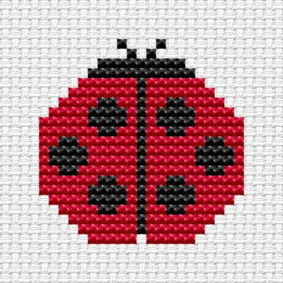 Easy Peasy Ladybird cross stitch kit from Fat Cat Cross Stitch. Ideal for beginners - please ensure young stitchers are supervised. Finished size approx 8.cm x 8.4cm. Kit contains 6ct Binca white aida fabric, stranded embroidery cotton, needle, colour chart and instructions. A brand new kit will be sent directly to you by Fat Cat Cross Stitch - usually within 2-4 working days © Fat Cat Cross Stitch
