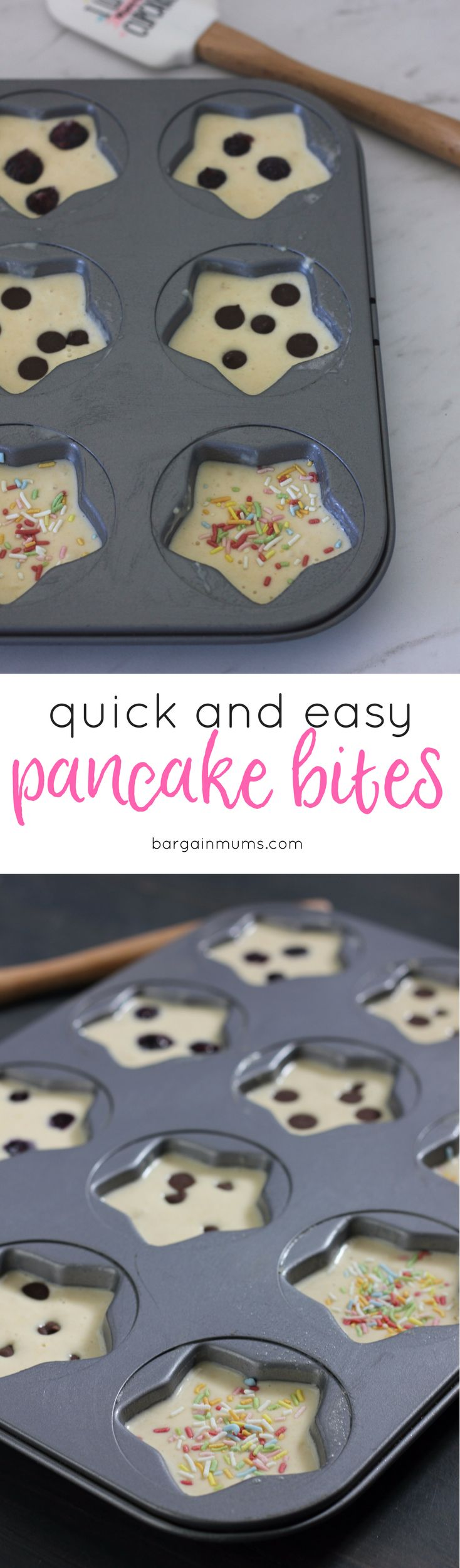 These mini pancake bites are basically a muffin made using pancake batter, and they are perfect for something different. They can be frozen, and make great lunch box treats. I make a basic pancake batter, spoon the mixture into muffin tins, then sprinkle with toppings, like blueberries, chocolate chips and sprinkles. They are always a huge hit, and cost next to nothing to make. Recipe here --> http://bargainmums.com.au/mini-pancake-bites