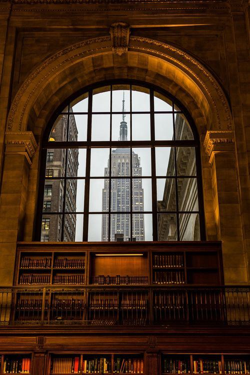 Public Library, New York City. Great view of the Empire State Building