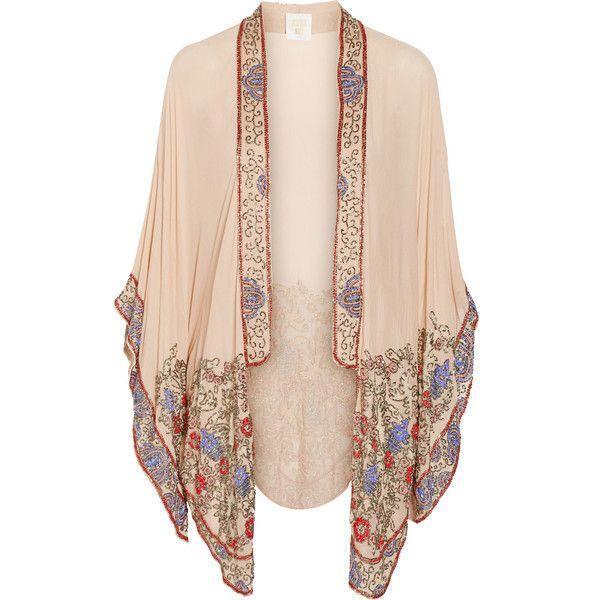 Bead-embellished crinkled silk-chiffon kimono jacket ($1,425) ❤ liked on Polyvore featuring outerwear, jackets, cardigans, kimono, tops, anna sui kimono, beige jacket, silk chiffon jacket, kimono jacket and anna sui jacket