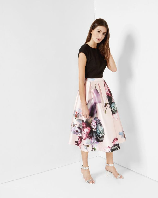 I love the fullness and length of the skirt, the print is okay.......Ethereal Posie midi dress - Nude Pink | Dresses | Ted Baker