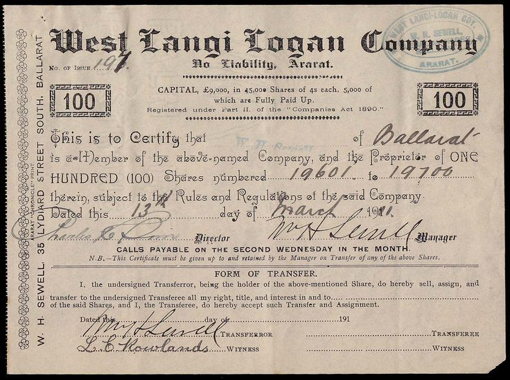 19th century australia - Google Search  Tamar Bank Launceston, Certificate No 147 (of 183 printed) for one 50 pound share to William Field 1st September 1835