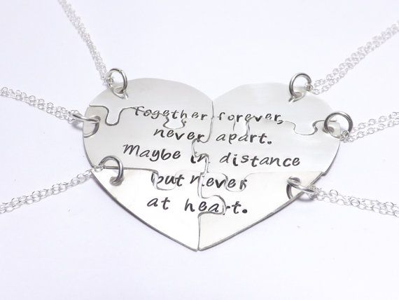 Set of 6 Sterling Silver Heart Shaped Puzzle Piece Necklace Set, Together Forever Never Apart- I WANT